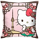 KINGAM Fundas de almohada decorativas suaves de Hello Kitty Square Funda de cojín cómoda funda de almohada de lujo para sofá, cama, silla, coche, decoración del hogar (45 x 45 cm)