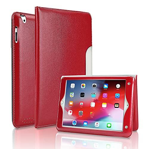 FANSONG iPad 4/3/2 Hülle mit Flip Ständer und Armband iPad Hülle 9,7 Zoll (iPad Version 2011 2012) mit Aufwachen/Schlafen Funktion, Geschäftsstil Leder Smart Cover- Rotwein