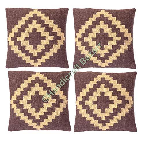 Handicraft Bazar 4 piezas Jute-Kilim Boho-Kissen handgefertigt, dekoratives almohada, sofá, muebles rústicos, handgewebtes Jute-Kissen, Kilim-Kissen, handgefertigt, yute Überwurf, Ethnische Dekokissen