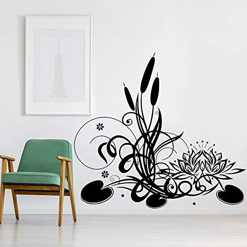 wZUN Lotus Etiqueta de la Pared Yoga Studio decoración Flor Reed Zen Vinilo Pared calcomanía decoración del hogar 30X28cm