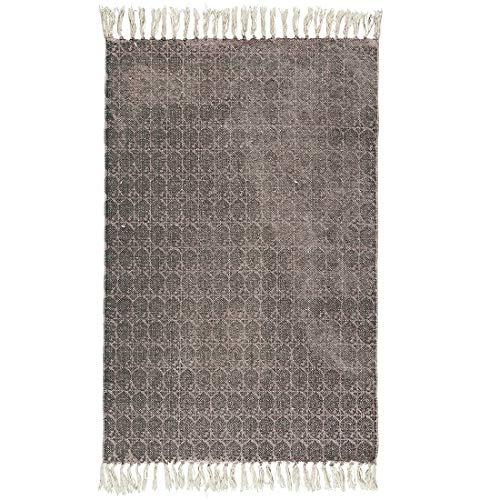 IB Laursen Teppich Malva mit schwarzem Aufdruck Baumwolle
