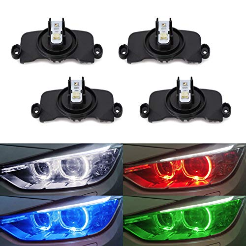 iJDMTOY (4) RGBW Angel Eye Marker Bulbs Compatible With BMW F30 F31 3 Series Xenon Adaptive Headlight Trims (320i 328i 330i 335i 340i etc.) Smartphone Remote Controlled