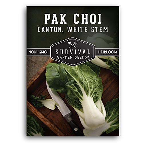 Survival Garden Seeds - Canton White Stem Pak Choi or Bok Choy Seed for Planting - Packet with Instructions to Plant and Grow in Your Home Vegetable Garden - Non-GMO Heirloom Variety