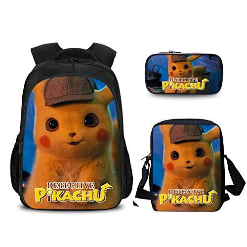 GNZY Mochilas Escolares Pokémon Detective Pikachu Escolares Mochilas con Bolsa de Almuerzo Bolso Lápiz para Adolescentes Niños Niñas Infantiles 6-16 Años,F