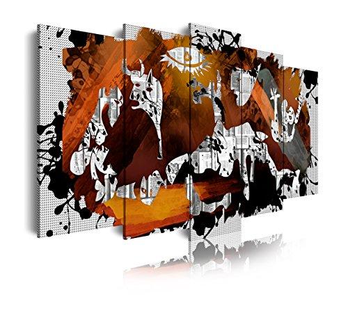 DekoArte 428 - Cuadros Modernos Impresión de Imagen Artística Digitalizada | Lienzo Decorativo para Tu Salón o Dormitorio | Estilo Abstractos Arte Picasso Guernica | 5 Piezas 200 x 100 cm XXL