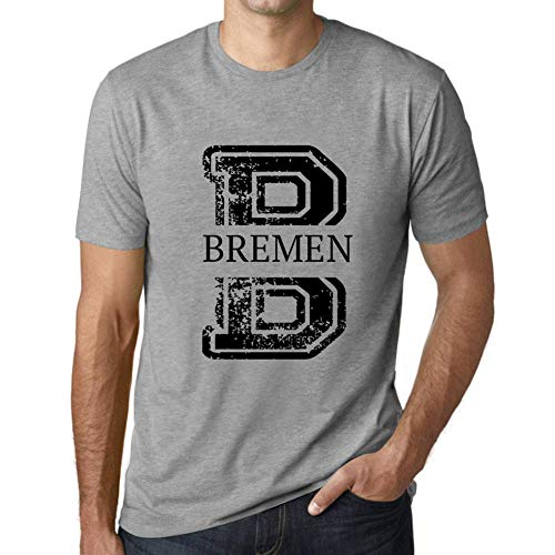 One in the City Hombre Camiseta Vintage T-Shirt Gráfico Letter B Countries and Cities Bremen Gris Moteado