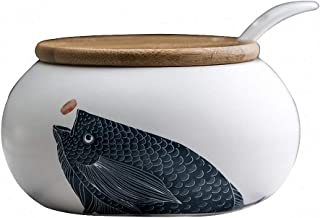 Vintage Japanese Style Carp Ceramic Sugar Bowl Salt Spice Pot Pepper Storage Jar Seasoning Pot Container Condiment Box with Wooden Lid and Spoon for Home Kitchen
