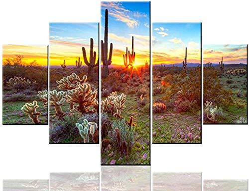 FGART Decoración de la Pared de los nativos Americanos Desierto de Sonora Cerca de Las Pinturas de Phoenix Obras de Arte de Paisaje de EE. UU. 5 Piezas Lienzo Arte Moderno Decoraciones para el hogar