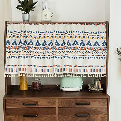 Michorinee - Visillo boho con patrón geométrico, corto, opaco, color azul, para cocina, cuarto de baño, café, armario, 143 x 60 cm, algodón y lino con borla