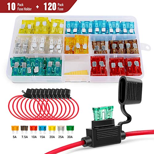 Nilight 120 Pcs Standard Blade Fuse 5A/7.5A/10A/15A/20A/25A/30A AMP Assorted Set with 10 Pack 14AWG ATC/ATO Inline Fuse Holder, 2 Years Warranty
