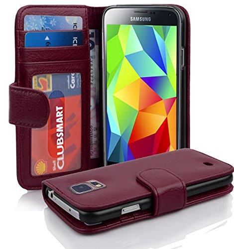 Cadorabo Hülle für Samsung Galaxy S5 / S5 NEO in Bordeaux LILA – Handyhülle mit Magnetverschluss & 3 Kartenfächern – Hülle Cover Schutzhülle Etui Tasche Book Klapp Style