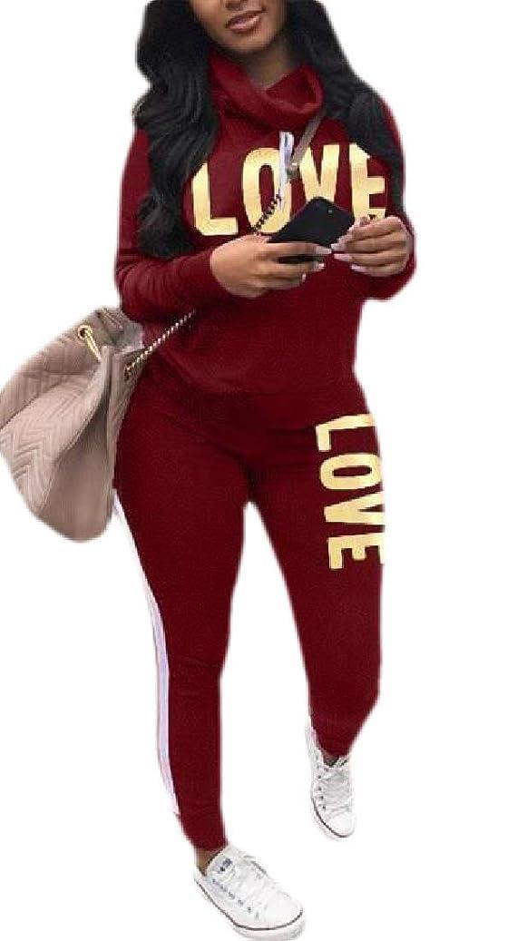 濃度リクルートむしろレディースレタープリント2ピース衣装カジュアルカウルネックロングスリーブスウェットシャツとパンツトラックスーツ