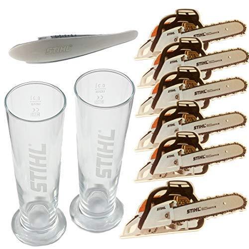 Stihl Biergläser Set 2 Stk. Bierglas 0,3 l Bierdeckel Flaschenöffner Geschenkset