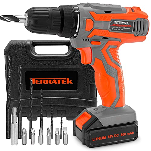Terratek Cordless Drill Driver Set 18V/20V-Max Li-Ion Combi Drill in Carry Case, Electric Screwdriver, Accessory Kit, LED Work Light, Quick Change Battery & Charger Included (13 Piece Set)
