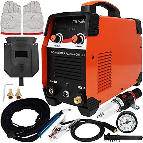 Homegreg CUT50A Longer Consumables Life enabled by Gas Delay, Non touch HF Arc, Inverter Plasma Cutter 110V 45 Amp 1/2' Limit Cut with Universal SG55 Torch