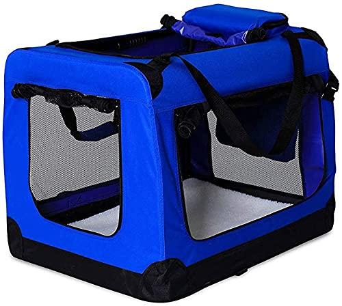 jaosn Hundetransportbox Hundetasche Hundebox Faltbare Kleintiertasche Verschiedene Größen und Farben ((S) 50x34x36 cm, blau)