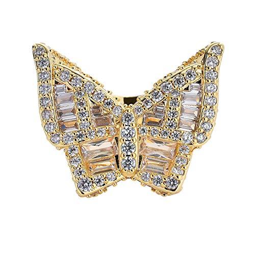 AMY-XCQ Anillo De Cobre con Micro Incrustaciones De Circonio Cúbico Butterfly Street Hombres Y Mujeres Moda Hip-Hop Exagerada Hombres Y Mujeres Europeos Y Americanos,Oro,8