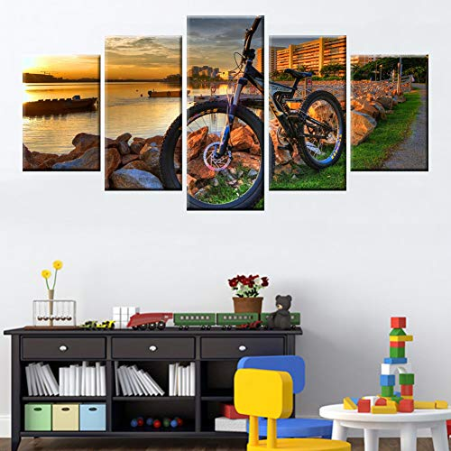SLFWCLH 5 Canvas Paintings Wall Art Canvas Painting 5 Panel Mountain Bike Racing Wall Art Bicycle Sunset Landscape Poster Living Room Bedroom Picture No Frame