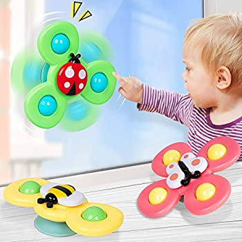 NARRIO Learning Toys for 1 2 Year Old Boy Gifts Infant Baby Toys 12-18 Months Suction Cup Spinner Toy Birthday Gifts for 1 2 Year Old Girl Spinning Top Sensory Toys for Toddlers Age 1-3