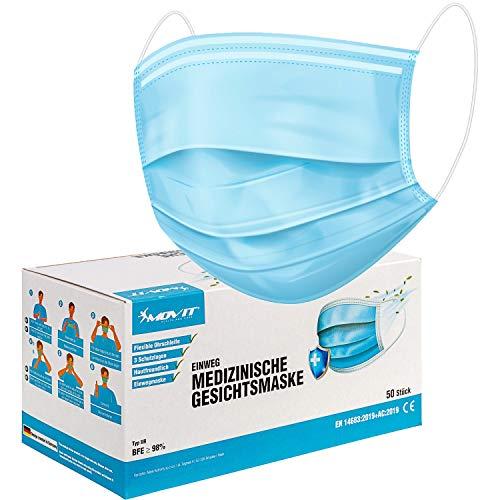 Movit Virshields 50x medizinische Gesichtsmasken TYP IIR, flüssigkeitsresistent, DIN EN 14683 geprüfte Einweg Mundschutz und Nasenschutz Maske mit BFE > 98%