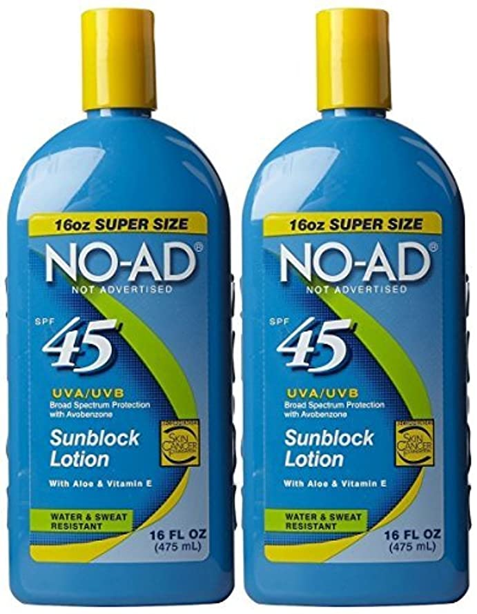 NO-AD Sunscreen Lotion SPF 45 16 ounce, Pack of 2
