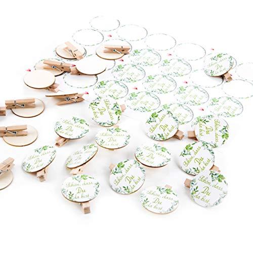 Logbuch-Verlag SCHÖN DASS DU DA BIST 24 kleine Holzklammern + Aufkleber für Geschenke an Gäste Kunden Hochzeitsdeko Gastgeschenk give-Away weiß grün Blätter floral