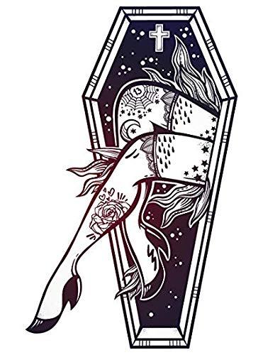 EW Designs Sexy Leg with Tattoos with Coffin Border Vinyl Decal Bumper Sticker (8' Tall)