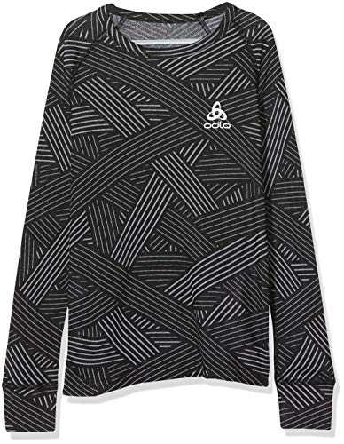 Odlo Kinder BL TOP Crew Neck l/s Active WARM Trend Kids Unterhemd, Black - Grey Melange - AOP FW19, 140