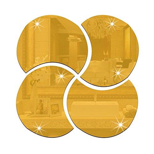 OOFAY& 1 Set (4 pièces) Rond miroir puzzle 3D amovible autocollant de miroir, 28 * 28cm, gold