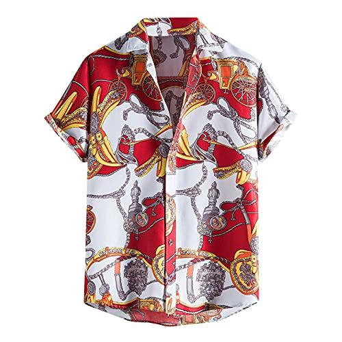 KANGYONG Camisa de moda para hombre, de verano, informal, estampada, blusa de manga corta, cuello en V B rojo XXL