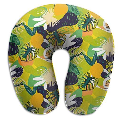 Almohada para el Cuello Frutas Tropicales Patrón jugoso Verde en Forma de U Almohada de Viaje Diseño ergonómico Contorneado Funda Lavable
