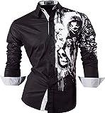 Sportrendy Hombre Camisas Moda Camisas Delgadas Camisa Manga Abotonada JZS047 Black M