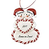 Family of 2, 3, 4, 5 Snowmen with Heart Personalized Christmas Ornament - Calliope Designs - for A Couple - 4.5' Tall - Handcrafted