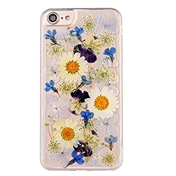 Pretty Flower Case for iPhone 6 TIPFLY iPhone 6s Daisy Floral Real Pressed Dry Flowers Cover Slim Cute Clear Flexible Rubber Shell Protective for iPhone 6/6s  Real Flower 7