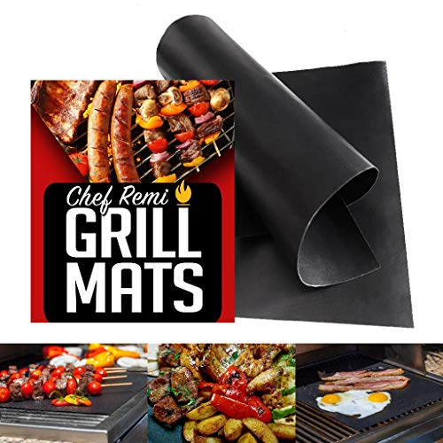 Chef Remi Grill Mat - Set of 2 Heavy Duty Reusable BBQ Grilling Mats - 16 x 13 Inch - Voted Best Rated Barbecue Accessories - Non Stick and Dishwasher Safe - Ideal Christmas Gift for Dad/Mom/Grandma