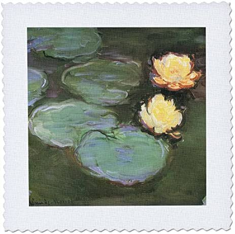 3dRose qs 126628 10 Water Lilies by Claude Monet c 1897 98 Quilt Square 25 by 25 Inch product image