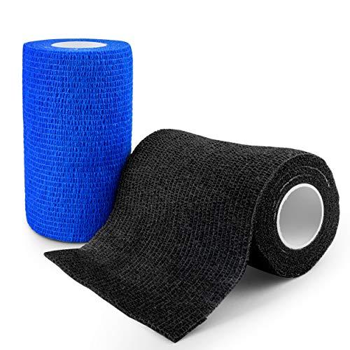 elinch 12 Stück Tape Set - Haftbandage in blau und schwarz - 10 cm x 4,5 Meter lange Fixierbinde selbsthaftend - Cohesive Bandage für Menschen und Tiere (Schwarz)
