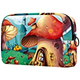 AITAI Bolsa de maquillaje grande bolsa de viaje cosmético organizador de dibujos animados bosque casa de setas