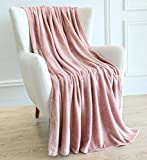 BAICOSE Flannel Fleece Throw Blanket, Super Soft Cozy Microfiber Couch Blankets for All Season, 50x70 Inches Pink