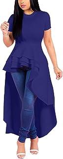 Lrady Women Ruffle High Low Asymmetrical Bodycon Peplum Top