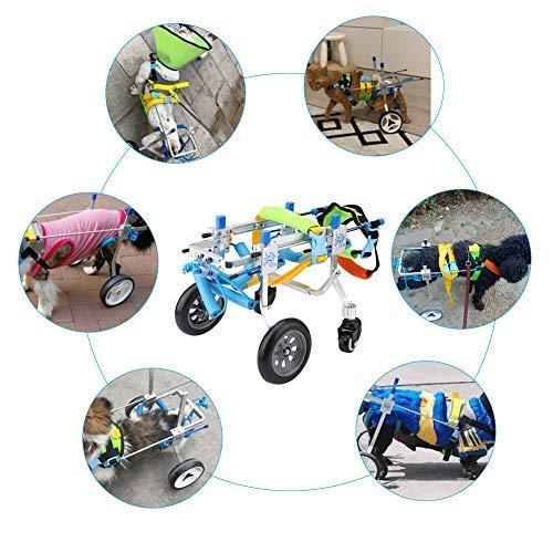 Silla de ruedas para perros, silla de ruedas ajustable para cuatro ruedas...