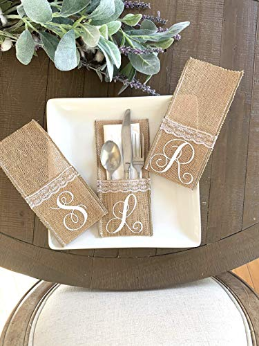 Set of 2, 4, 8 or 12, Personalized Burlap Place Setting Utensil Holder, Knives Forks and Spoons Holder for Farmhouse Table Decor, Place Setting Decoration, Custom Burlap Utensil Pouch, 4' x 8'