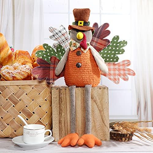LEVKIDS Handmade Autumn Turkey Ornaments, Turkey Thanksgiving Home Decorations Autumn Festival Gift