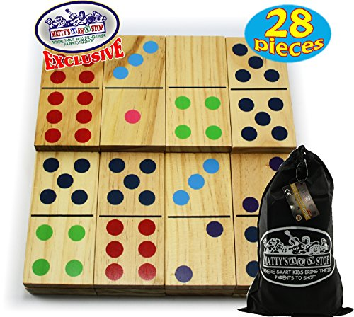 Matty's Toy Stop Deluxe Giant Wooden Dominoes Double Six (5') Color Dot, 28 Piece Set with Storage Bag