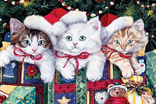 ZHOUBIN Kit per Diamond Painting 5D DIY,Simpatici Tre Gatti con Regali di Natale Ricamo a Punto Croce Diamante Trapano Rotondo per Adulti Bambini, per la Decorazione Domestica