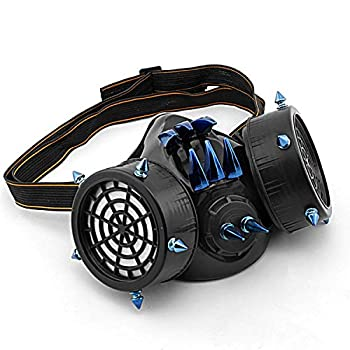 Unisex Steampunk Mask Gothic Punk Rivet Cosplay Face Mask Punk Gas Mask Respirator Halloween Party Masks Accessories  just mask  Black/Blue