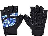 KJLH Guantes de gimnasio de levantamiento de pesas guantes de entrenamiento de fitness de muñeca (azul)
