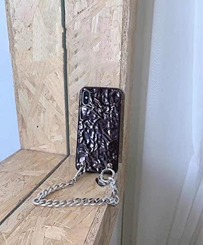 Caja del teléfono de la pulsera de la cadena del corazón del amor de la hoja de lata doblada de lujo 3D para el iPhone 11 12Pro X XR XS Max 7 8 Plus Cubierta suave de la manera, 2, para el iPhone 7