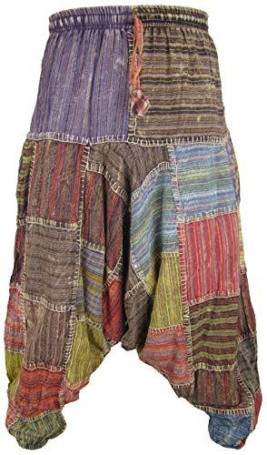 Little Kathmandu pantalones diseño holgado hippie de algodón para hombre Aladín multicolor Thin Stitch Patch Harem M