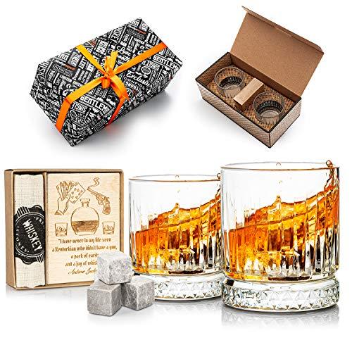Juego de 2 vasos de whisky y vasos de whisky, juego de regalo de whisky para hombres. Juego de vasos de whisky como regalo de 40 cumpleaños para él (piedras de enfriamiento gris oscuro)